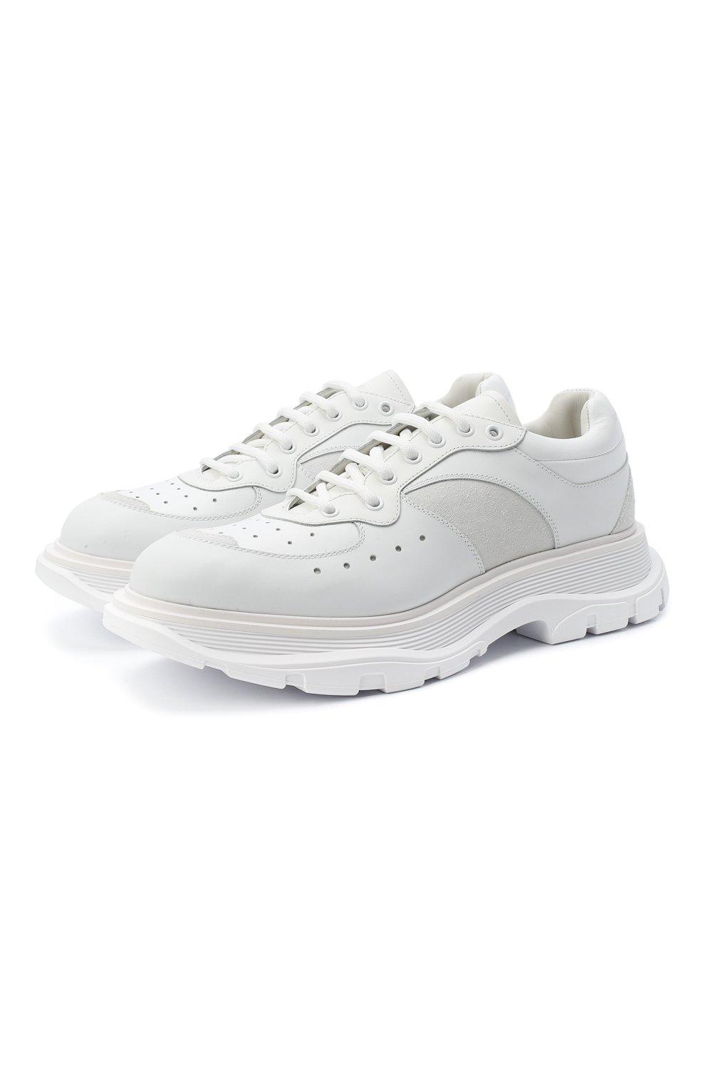 Мужские комбинированные кроссовки ALEXANDER MCQUEEN белого цвета, арт. 627222/WHRH5   Фото 1
