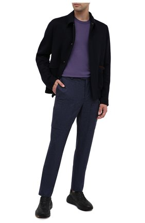 Мужской джемпер из шерсти и кашемира BRUNELLO CUCINELLI фиолетового цвета, арт. M2400100 | Фото 2 (Мужское Кросс-КТ: Джемперы; Материал внешний: Шерсть; Рукава: Длинные; Принт: Без принта; Длина (для топов): Стандартные; Стили: Классический; Вырез: Круглый)