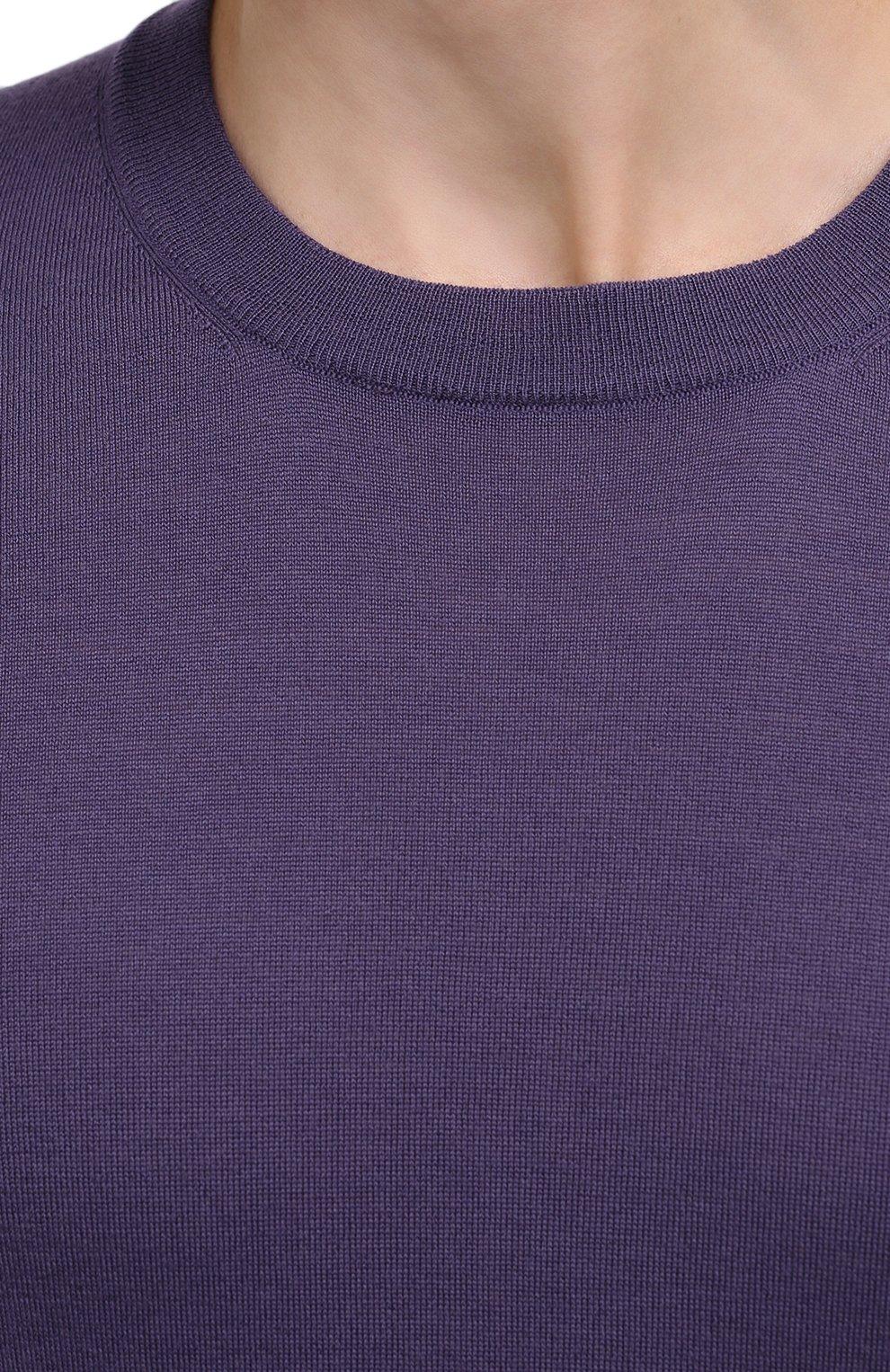 Мужской джемпер из шерсти и кашемира BRUNELLO CUCINELLI фиолетового цвета, арт. M2400100 | Фото 5 (Мужское Кросс-КТ: Джемперы; Материал внешний: Шерсть; Рукава: Длинные; Принт: Без принта; Длина (для топов): Стандартные; Стили: Классический; Вырез: Круглый)