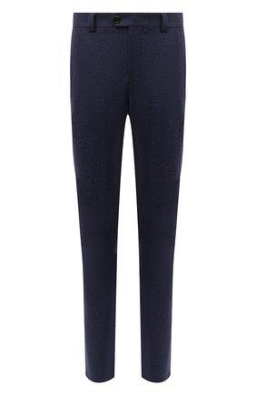 Мужские шерстяные брюки BRUNELLO CUCINELLI темно-синего цвета, арт. M038PE1460 | Фото 1 (Материал подклада: Вискоза; Материал внешний: Шерсть; Случай: Повседневный; Стили: Кэжуэл)