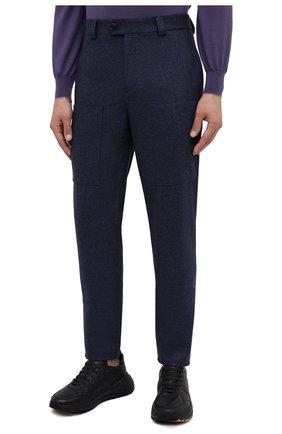 Мужские шерстяные брюки BRUNELLO CUCINELLI темно-синего цвета, арт. M038PE1460   Фото 3