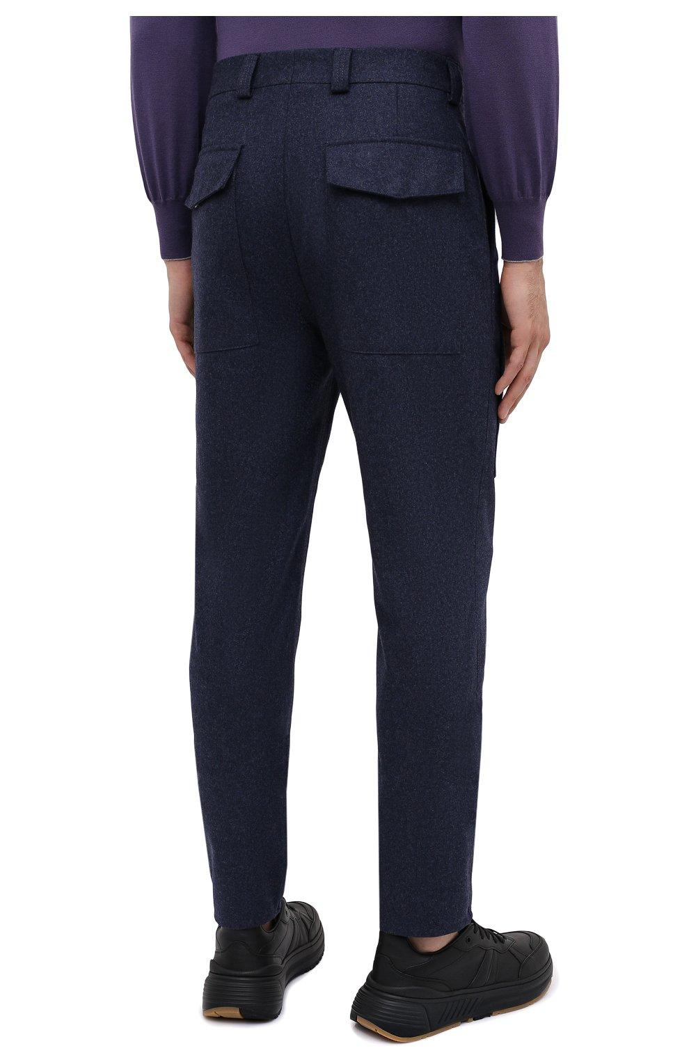 Мужские шерстяные брюки BRUNELLO CUCINELLI темно-синего цвета, арт. M038PE1460   Фото 4