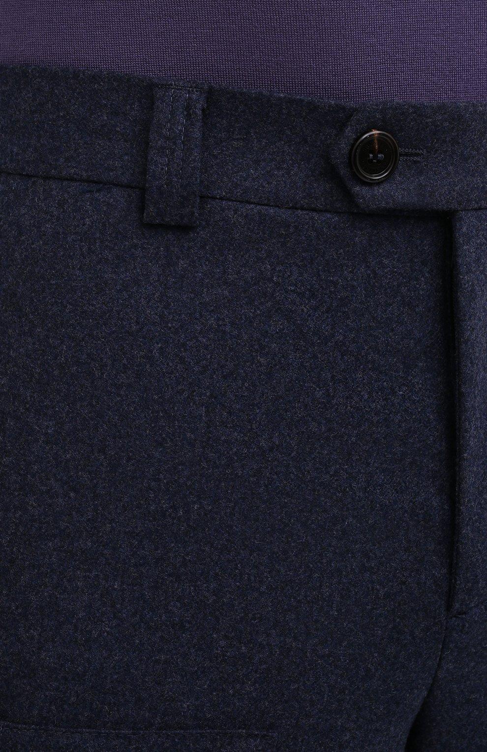 Мужские шерстяные брюки BRUNELLO CUCINELLI темно-синего цвета, арт. M038PE1460   Фото 5