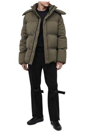 Мужские кожаные кеды ace GUCCI черного цвета, арт. 599147/AY070 | Фото 2