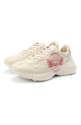 Мужские кожаные кроссовки rhyton GUCCI белого цвета, арт. 630607/DRW00 | Фото 1