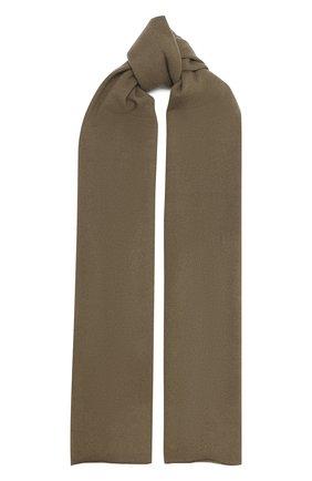 Мужской кашемировый шарф ALLUDE хаки цвета, арт. 205/30025 | Фото 1