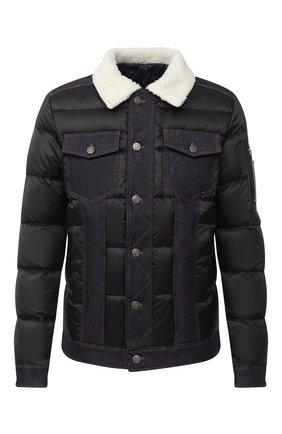 Мужская пуховая куртка BALMAIN темно-синего цвета, арт. UH18811/X036 | Фото 1