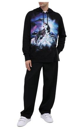 Мужской хлопковое худи BALMAIN черного цвета, арт. UH13415/I310 | Фото 2