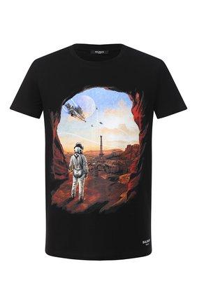 Мужская хлопковая футболка BALMAIN черного цвета, арт. UH01601/I374   Фото 1