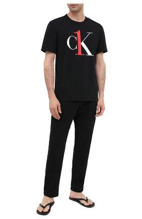 Мужские хлопковая футболка CALVIN KLEIN черного цвета, арт. NM1903E | Фото 2