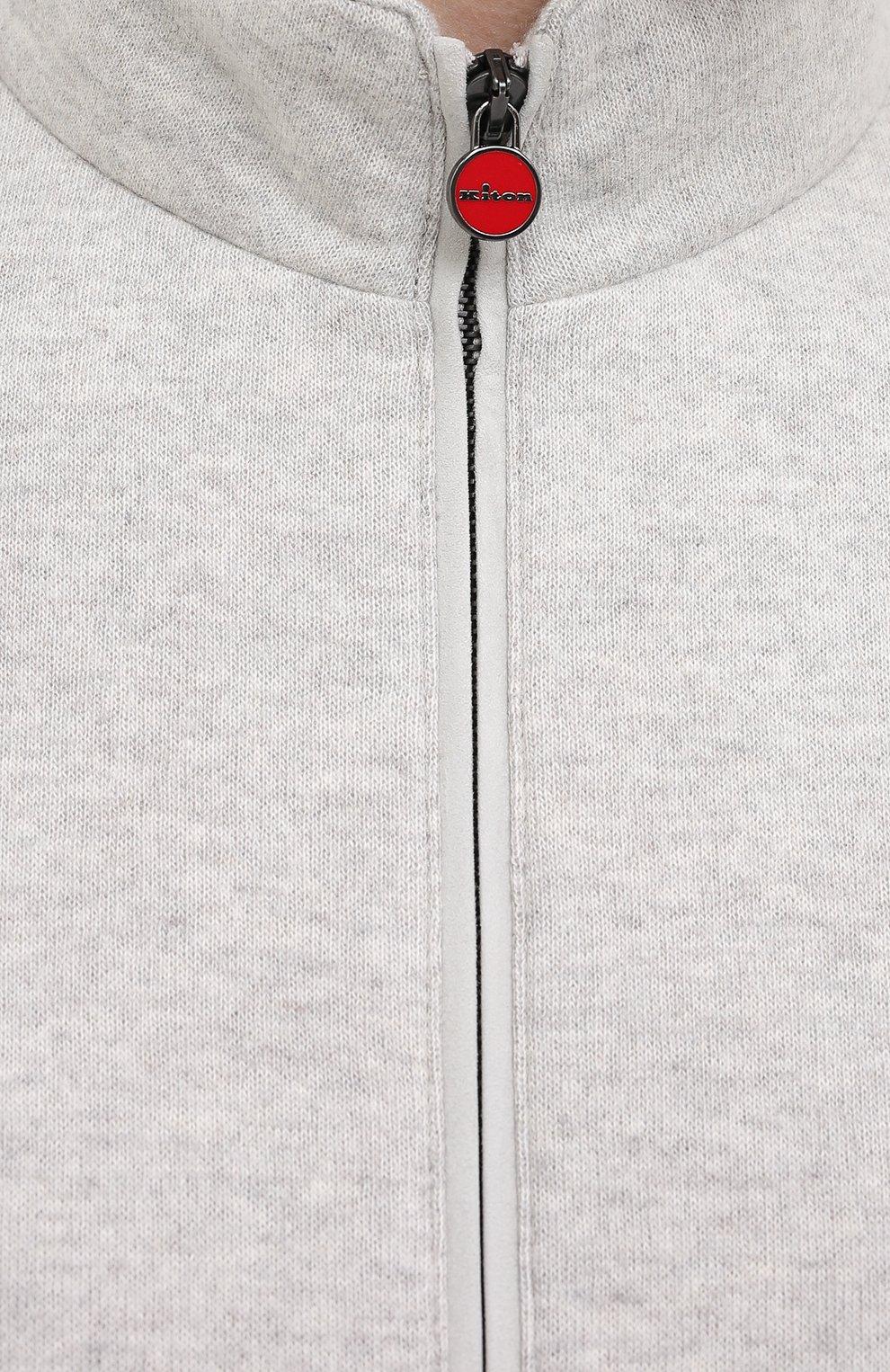 Мужской кашемировый бомбер KITON серого цвета, арт. UW0805MV03T62 | Фото 5