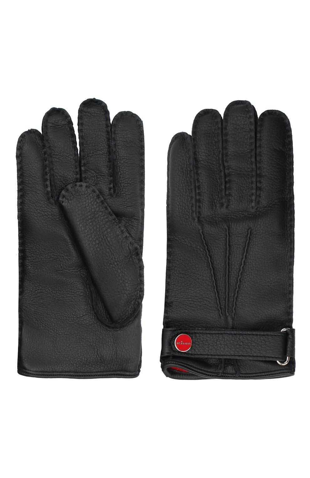 Мужские кожаные перчатки KITON черного цвета, арт. UGU023X02T19 | Фото 2