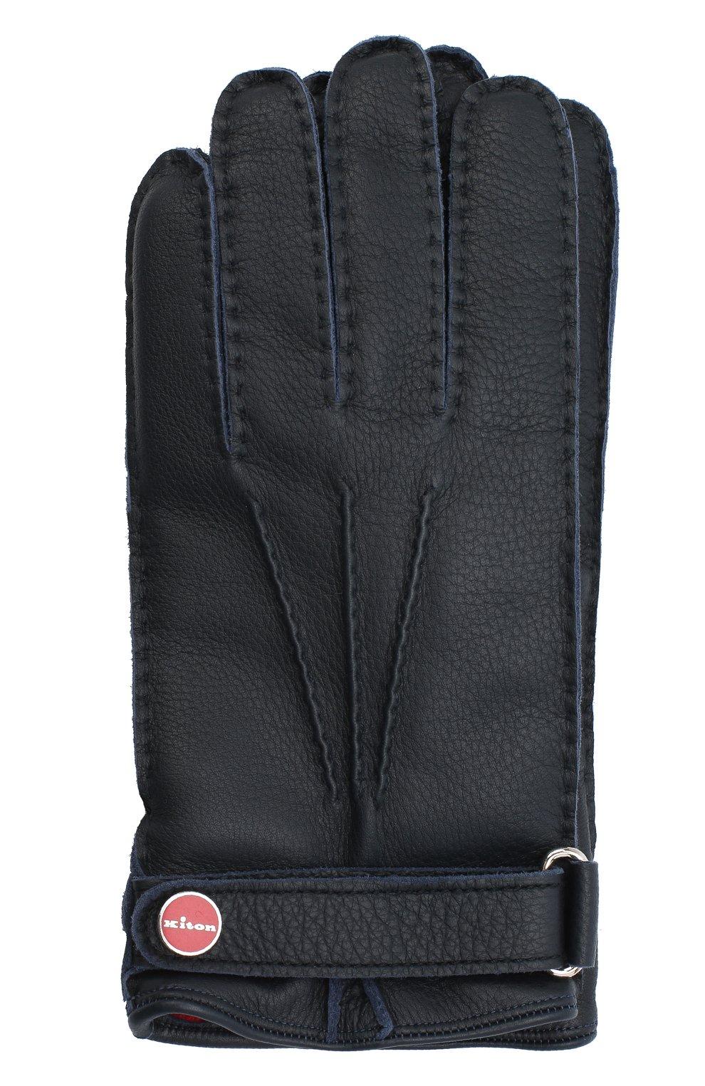 Мужские кожаные перчатки KITON темно-синего цвета, арт. UGU023X02T19 | Фото 1