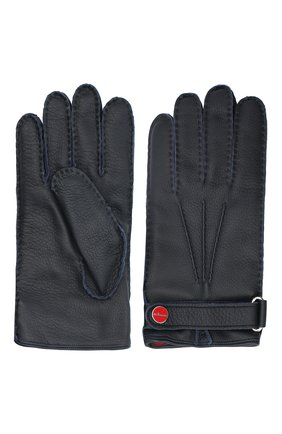 Мужские кожаные перчатки KITON темно-синего цвета, арт. UGU023X02T19 | Фото 2