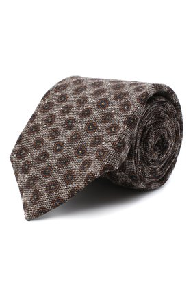 Мужской галстук из шерсти и шелка KITON светло-коричневого цвета, арт. UCRVKLC05G59 | Фото 1