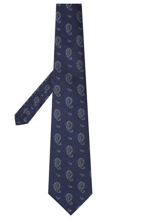 Мужской галстук из шелка и хлопка KITON темно-синего цвета, арт. UCRVKLC05G27 | Фото 2
