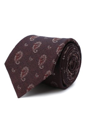 Мужской галстук из шелка и хлопка KITON коричневого цвета, арт. UCRVKLC05G27 | Фото 1