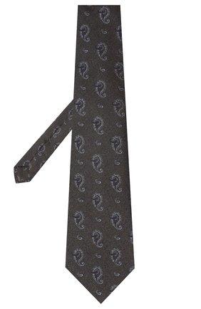 Мужской галстук из шелка и хлопка KITON темно-серого цвета, арт. UCRVKLC05G27 | Фото 2