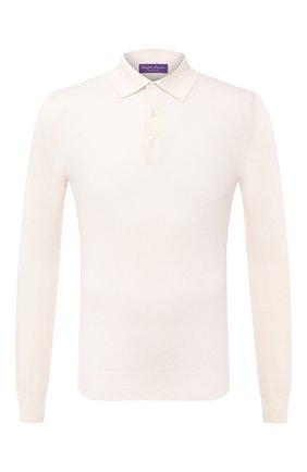 Мужское поло из шелка и хлопка RALPH LAUREN белого цвета, арт. 790799286 | Фото 1