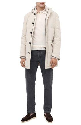 Мужское поло из шелка и хлопка RALPH LAUREN белого цвета, арт. 790799286 | Фото 2