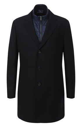 Мужской шерстяное пальто BOSS темно-синего цвета, арт. 50438654 | Фото 1