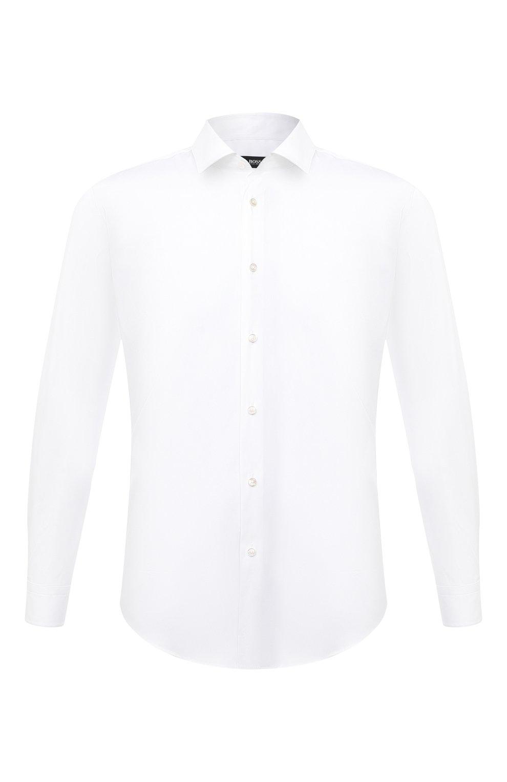 Мужская хлопковая сорочка BOSS белого цвета, арт. 50440261 | Фото 1