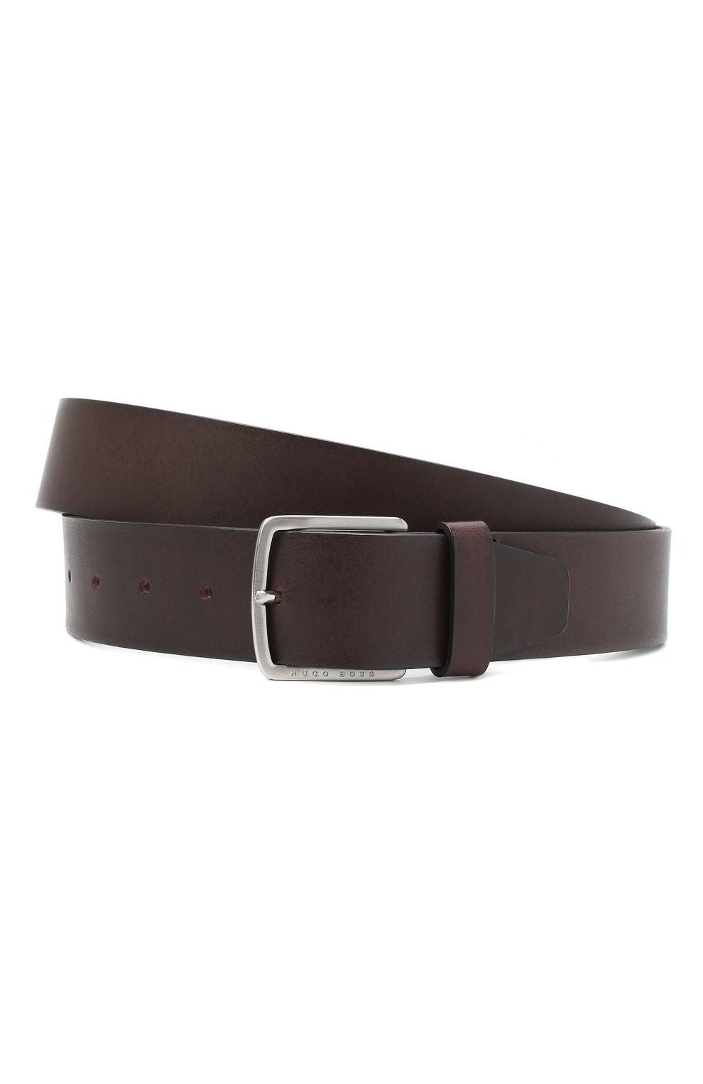 Мужской кожаный ремень BOSS коричневого цвета, арт. 50424683   Фото 1