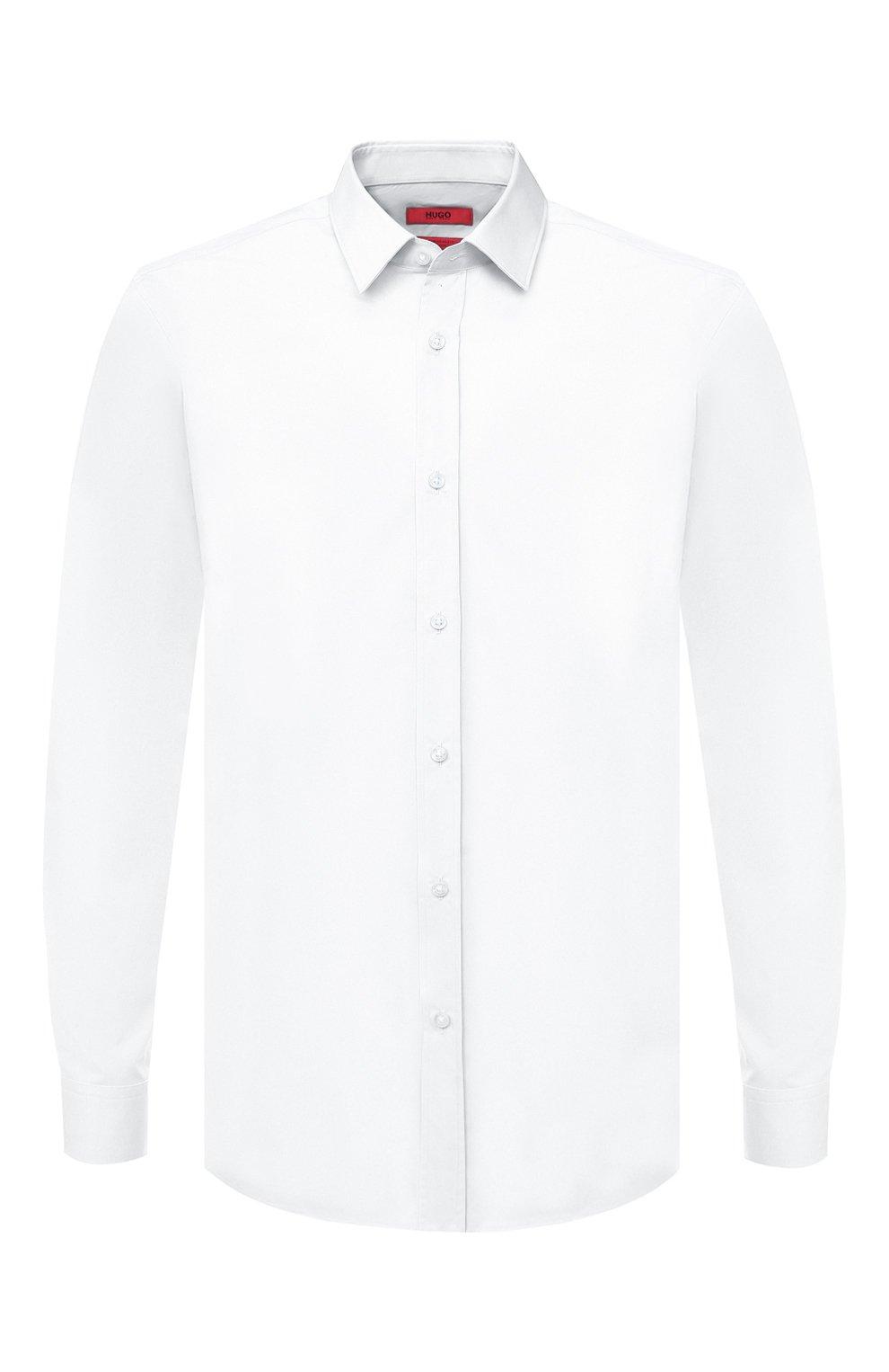 Мужская хлопковая сорочка HUGO белого цвета, арт. 50425897 | Фото 1 (Воротник: Кент; Рукава: Длинные; Длина (для топов): Стандартные; Материал внешний: Хлопок; Стили: Классический; Случай: Формальный)