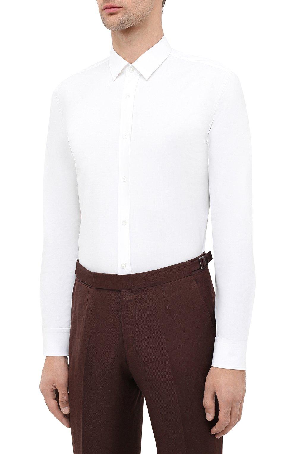 Мужская хлопковая сорочка HUGO белого цвета, арт. 50425897 | Фото 3 (Воротник: Кент; Рукава: Длинные; Длина (для топов): Стандартные; Материал внешний: Хлопок; Стили: Классический; Случай: Формальный)