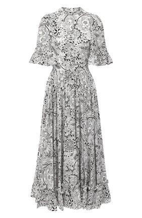 Женское шелковое платье ALEXANDER MCQUEEN черно-белого цвета, арт. 632201/QCABX | Фото 1 (Материал внешний: Шелк; Материал подклада: Синтетический материал; Длина Ж (юбки, платья, шорты): Миди; Рукава: 3/4; Женское Кросс-КТ: Платье-одежда; Случай: Повседневный)