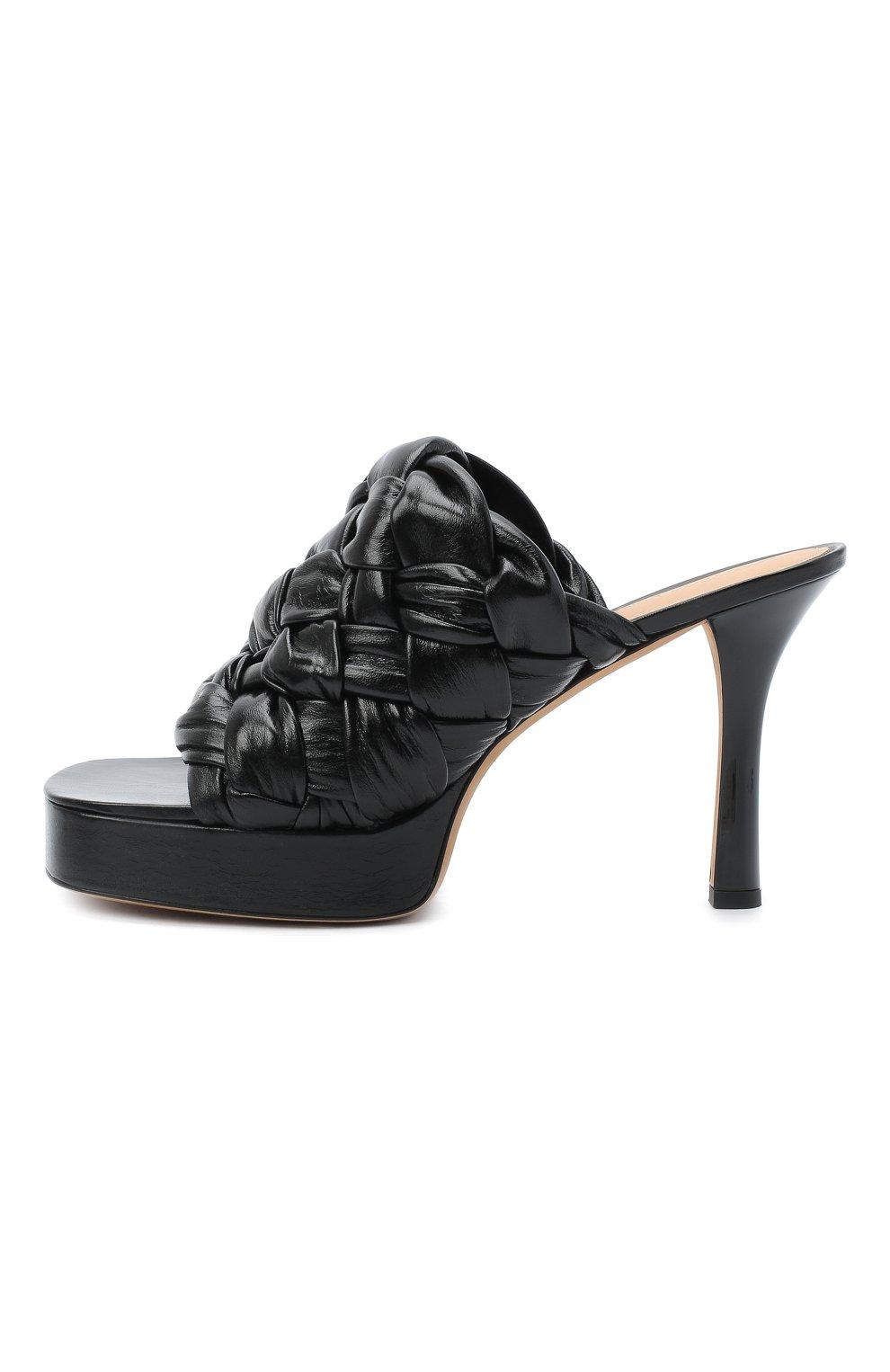 Женские кожаные мюли bv bold BOTTEGA VENETA черного цвета, арт. 630175/VBT10 | Фото 3