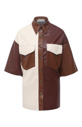Женская рубашка NANUSHKA коричневого цвета, арт. R0QUE_BR0WN PATCH_VEGAN LEATHER | Фото 1