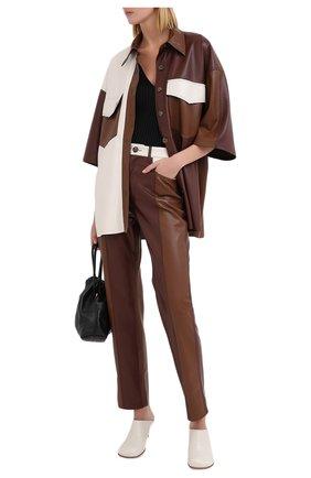 Женская рубашка NANUSHKA коричневого цвета, арт. R0QUE_BR0WN PATCH_VEGAN LEATHER | Фото 2