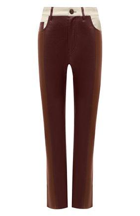 Женские брюки NANUSHKA коричневого цвета, арт. VINNI_BR0WN PATCH_VEGAN LEATHER   Фото 1