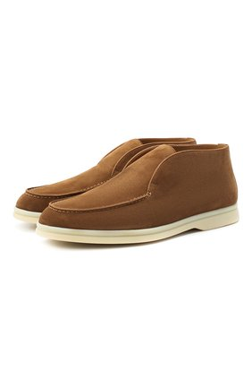 Женские замшевые ботинки open walk LORO PIANA коричневого цвета, арт. FAE9959 | Фото 1