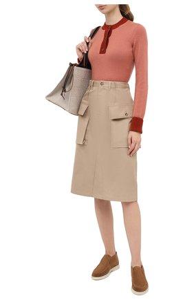 Женские замшевые ботинки open walk LORO PIANA коричневого цвета, арт. FAE9959 | Фото 2