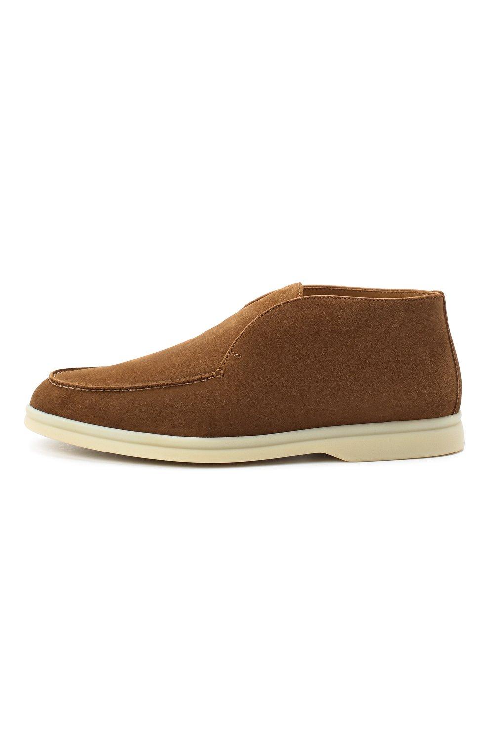 Женские замшевые ботинки open walk LORO PIANA коричневого цвета, арт. FAE9959 | Фото 3