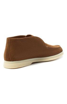 Женские замшевые ботинки open walk LORO PIANA коричневого цвета, арт. FAE9959 | Фото 4