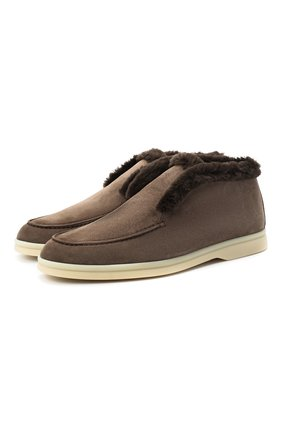 Женские замшевые ботинки open walk LORO PIANA коричневого цвета, арт. FAG3602 | Фото 1