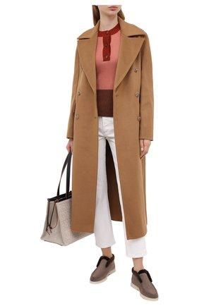 Женские замшевые ботинки open walk LORO PIANA коричневого цвета, арт. FAG3602 | Фото 2