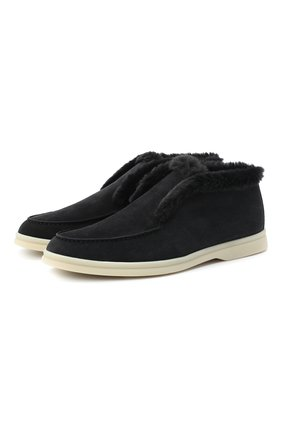Женские замшевые ботинки open walk LORO PIANA темно-серого цвета, арт. FAG3602 | Фото 1