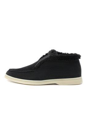 Женские замшевые ботинки open walk LORO PIANA темно-серого цвета, арт. FAG3602 | Фото 3