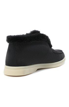 Женские замшевые ботинки open walk LORO PIANA темно-серого цвета, арт. FAG3602 | Фото 4