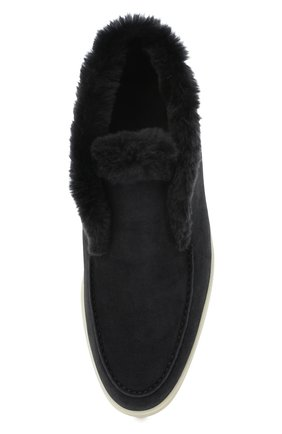 Женские замшевые ботинки open walk LORO PIANA темно-серого цвета, арт. FAG3602 | Фото 5