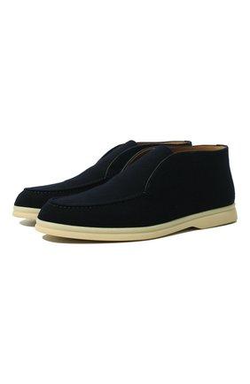 Женские замшевые ботинки open walk LORO PIANA темно-синего цвета, арт. FAL2797 | Фото 1