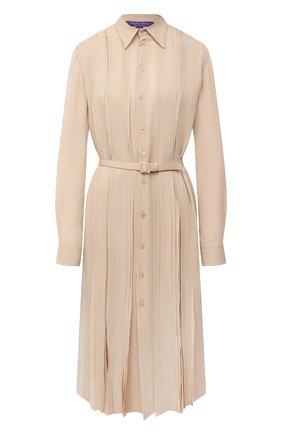 Женское шелковое платье RALPH LAUREN бежевого цвета, арт. 290815924 | Фото 1