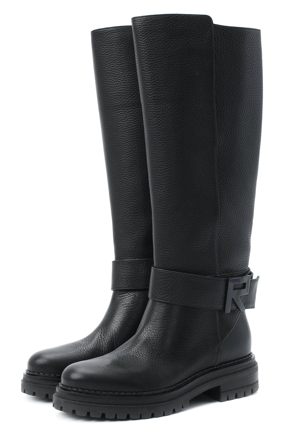 Женские кожаные сапоги logomaniac SERGIO ROSSI черного цвета, арт. A81120-MMVR13 | Фото 1