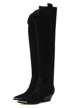 Женские замшевые сапоги carla SERGIO ROSSI черного цвета, арт. A91190-MCRM13 | Фото 1