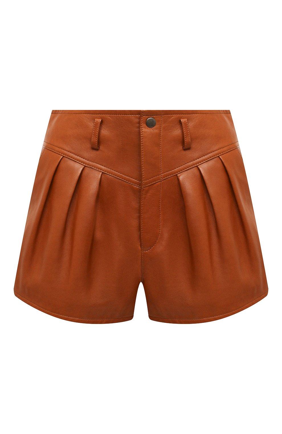 Женские кожаные шорты SAINT LAURENT коричневого цвета, арт. 630199/Y50A2   Фото 1 (Женское Кросс-КТ: Шорты-одежда; Длина Ж (юбки, платья, шорты): Мини; Материал подклада: Купро)