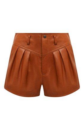 Женские кожаные шорты SAINT LAURENT коричневого цвета, арт. 630199/Y50A2 | Фото 1